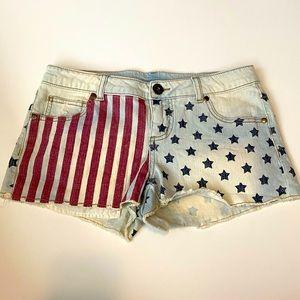 American Flag Patriotic Jean Shorts July 4th